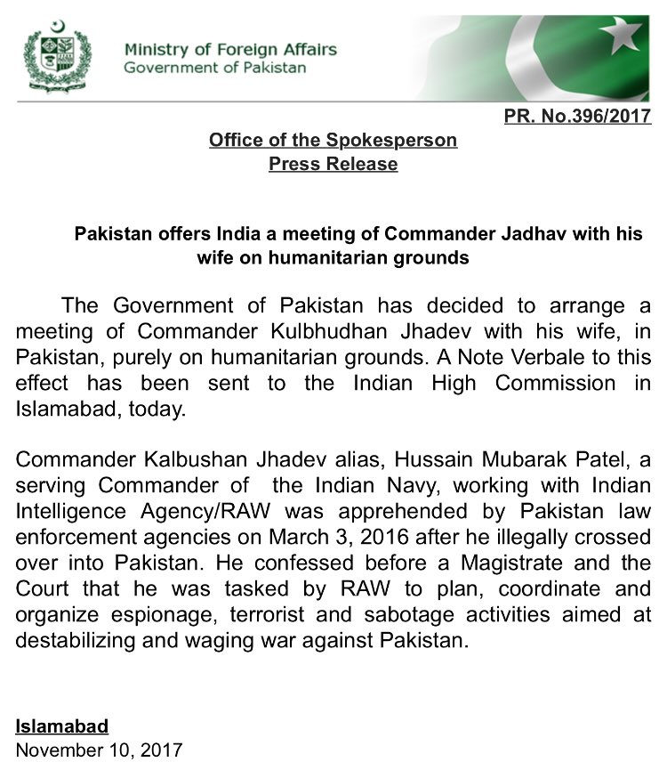 PIPFPD welcomes Pakistan's offer to arrange Kulbhushan Jadhav-his wife meeting