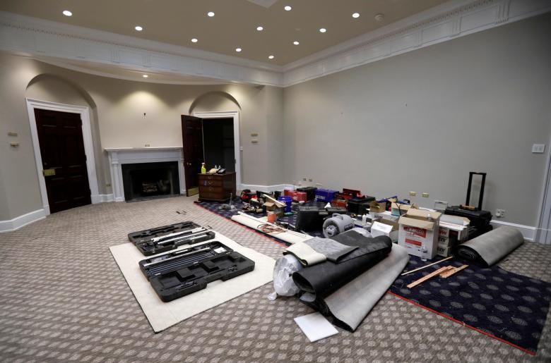 west wing oval office. Construction Materials And Equipment Are Seen Staged Inside The Historic Roosevelt Room In West Wing. Wing Oval Office