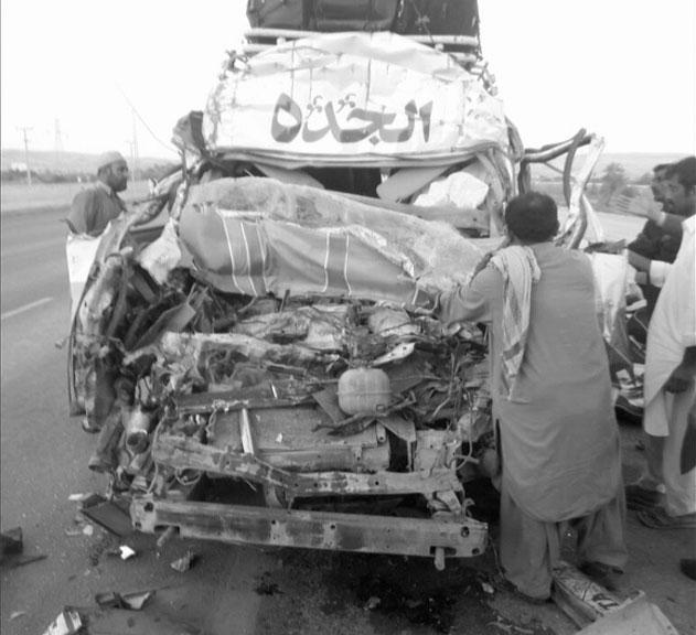 Seven killed in bus-trailer collision in Jamshoro