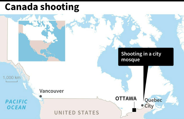 Six killed eight injured in quebec mosque shooting police quebec city map afp gumiabroncs Image collections