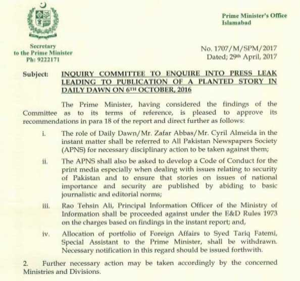 Sharif sacks special adviser over Dawn leak