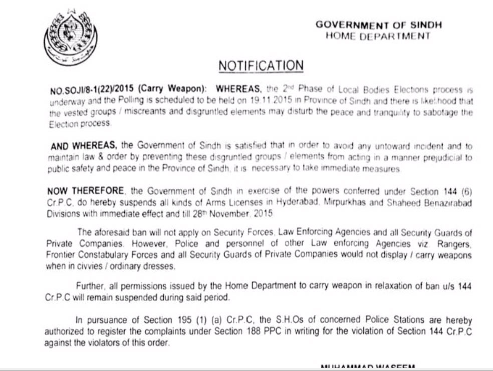 Sindh govt suspends arms licenses in 15 districts ahead of