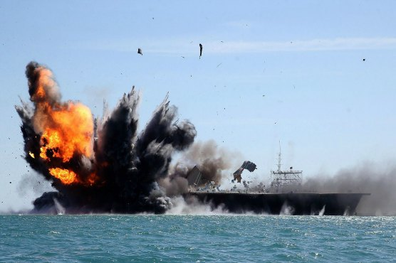 Iran conducts wargames against mockup 'U S  aircraft carrier