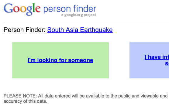 pakistan earthquake google launches person finder to facilitate