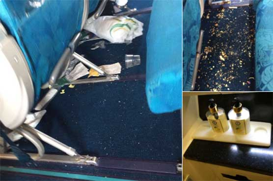 Passengers fill PIA Premier Service aircraft with litter, steal lotions