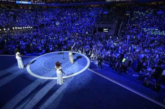 Celebrities go all out for Clinton at convention
