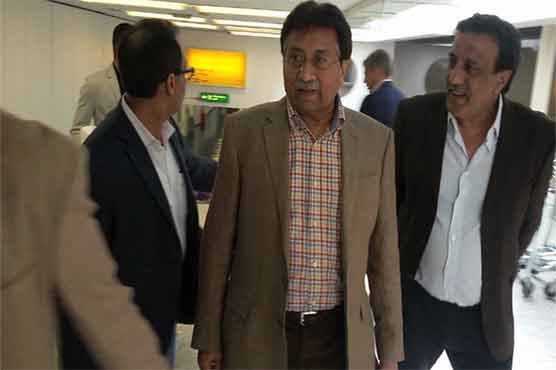 Musharraf reaches London, greeted by party workers at Heathrow airport