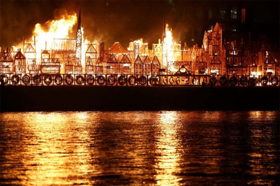 Wooden sculpture of London goes up in flames to mark Great Fire anniversary