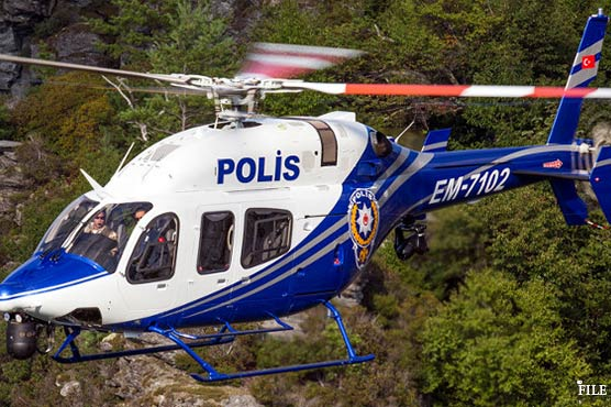 Police helicopter carrying 12 crashes in eastern Turkey