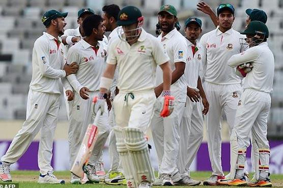 Australia lose 3 before stumps, Day 1; trail Bangladesh by 242