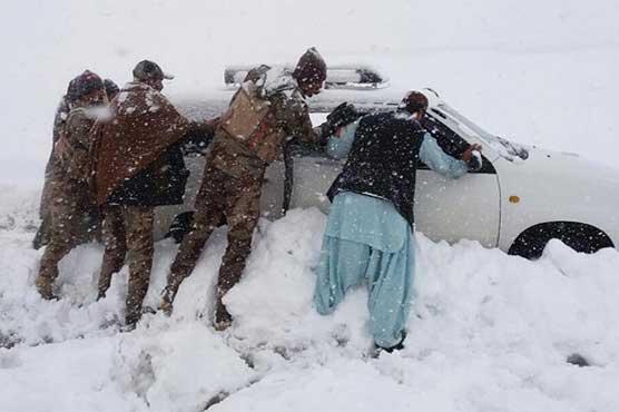 Heavy snow blocks roads in Chitral, Balochistan