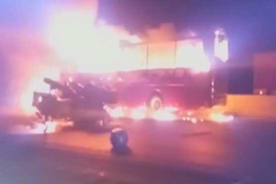 Karachi: Two injured as bus catches fire after accident