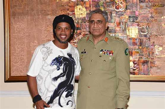 COAS Bajwa greets global footballers including Ronaldinho