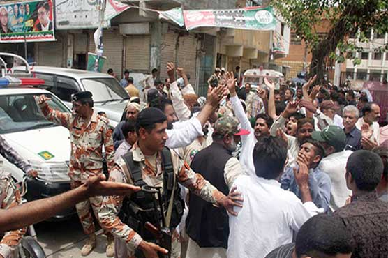 Clashes erupt outside polling stations during PS-114 by-election in Karachi