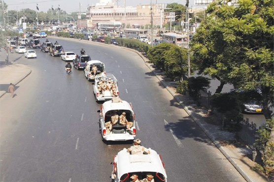 Youm-e-Ali: Police, Rangers conduct flag march in Karachi