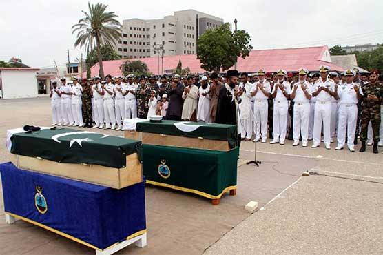 Funeral prayers of martyred navy personnel offered in Karachi