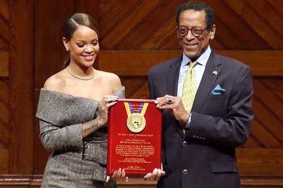 Rihanna's humanitarian work recognized at Harvard