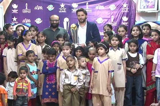 ICC Champions trophy arrives at Edhi Home during Karachi tour