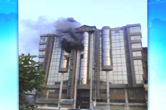 Two floors of Karachi building ablaze after explosion