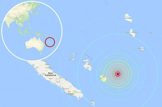 Tsunami waves observed near New Caledonia
