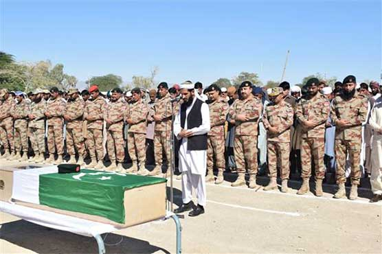 Four terrorists killed in FC operations in Turbat, Makran funeral prayer performed over martyred soldier