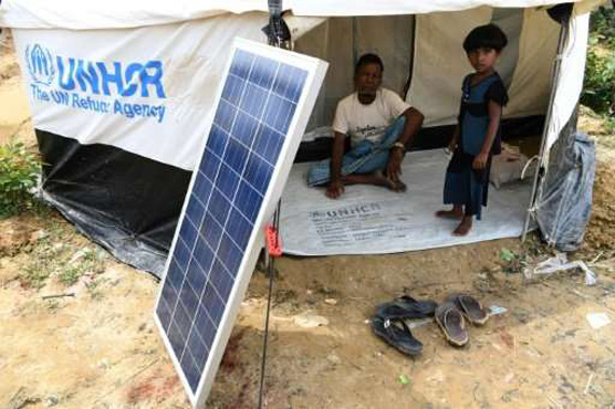 With solar panels refugees can charge their phones and power electric lights and fans a lifeline in tents that become baking hot in the strong sun. & Solar panels offer a lifeline in Rohingya refugee camps - World ...