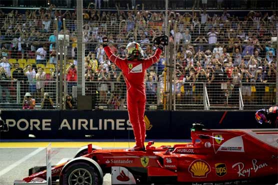 Vettel timed a record 1min 39.491sec at the floodlit Marina Bay street circuit
