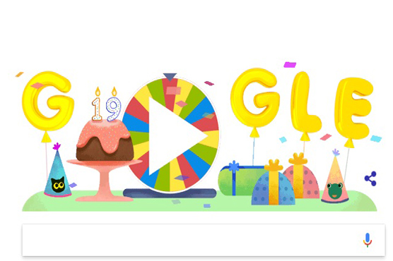 Google Doodle Celebrates Google's 19th Birthday