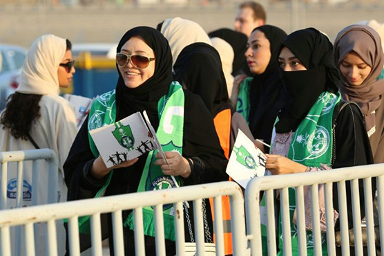 Saudi women enter stadium to watch soccer for the first time