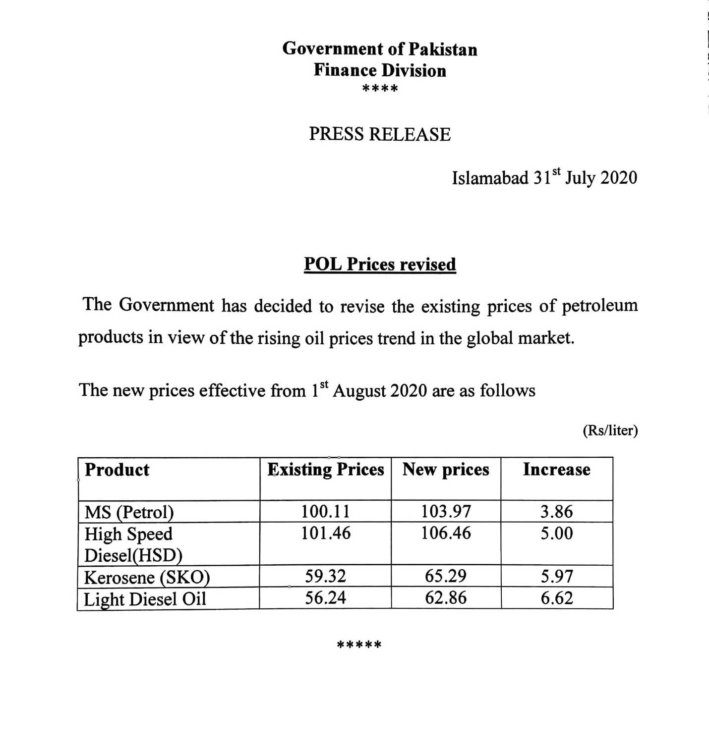 Petrol Price Increased by Rs3.86