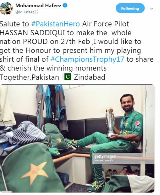 haffeez - محمد حفیظ نے اپنی چیمپئنز ٹرافی کی شرٹ پائلٹ حسن صدیقی کو دے دی