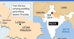 India: More than 30 killed in train, bus accident