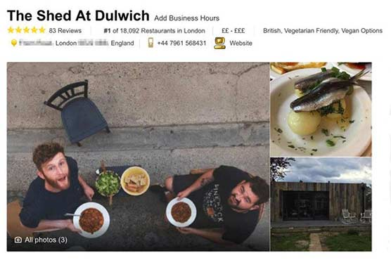 Fake restaurant becomes London's top-rated eatery