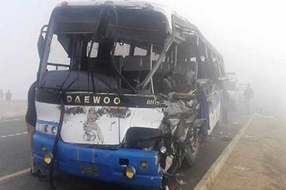 Khanewal: 11 killed as bus collides with trailer due to fog