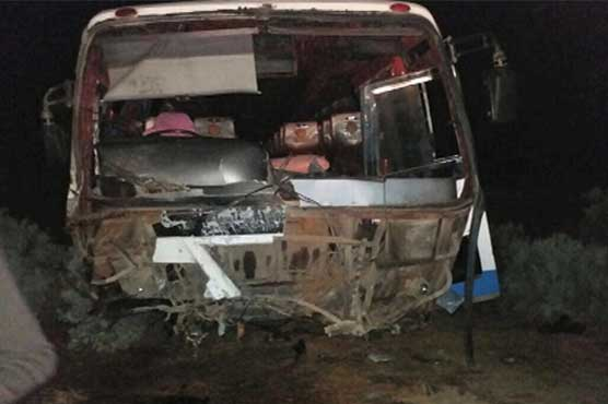 Collision between passenger coaches, Mazda near Sehwan kills ten