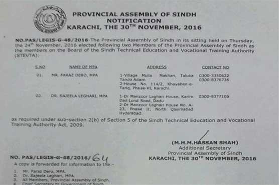 Amendment made to Sindh Tevta Act 2010