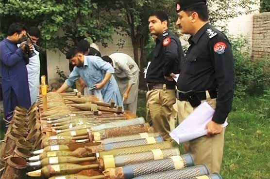 Heavy weapons, explosives recovered in Peshawar's Hassanabad