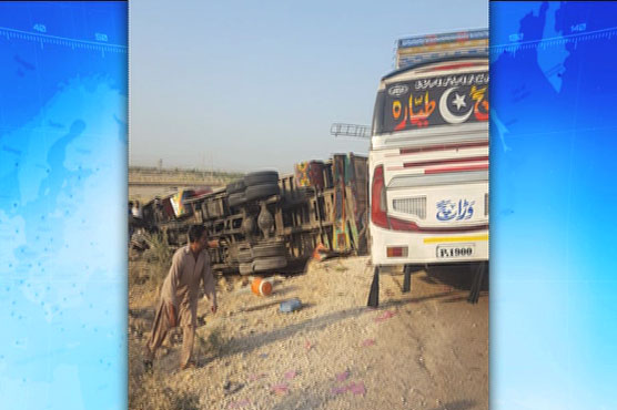 Three killed, seven injured in coach-container collision