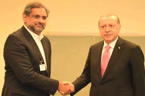 PM Abbasi meets Turkish President on sidelines of UNGA session