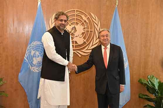 PM Abbasi hands UN Secretary-General dossier on atrocities in Kashmir