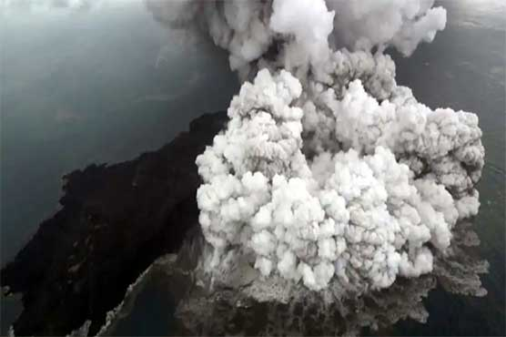 Satellite images show collapse of Indonesian island volcano