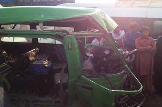 Three killed, 12 injured as speeding bus hits school van in Multan