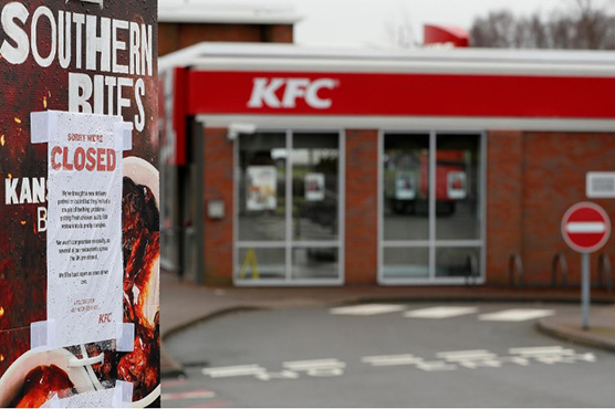 KFC closes most of its UK stores due to chicken shortage