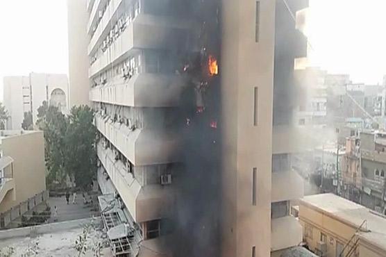 Blaze engulfs six floors of New Sindh Secretariat