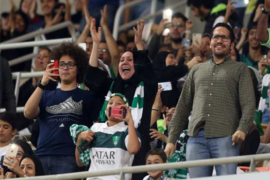 Saudi women watch football game at stadium for first time