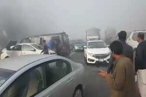 Dense fog causes massive car pile-up near Kala Shah Kaku Interchange