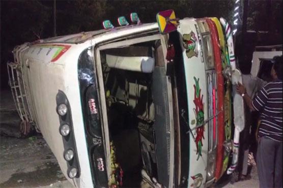 One killed, six injured as speeding bus overturns in Karachi