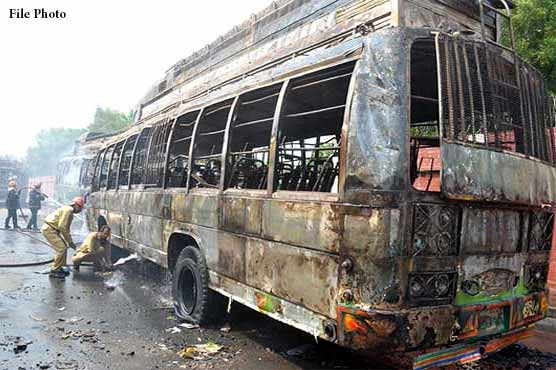 Four killed, six injured as bus catches fire in Kohat
