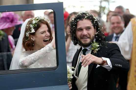 Game of Thrones co-stars Kit Harington and Rose Leslie marry in Scotland