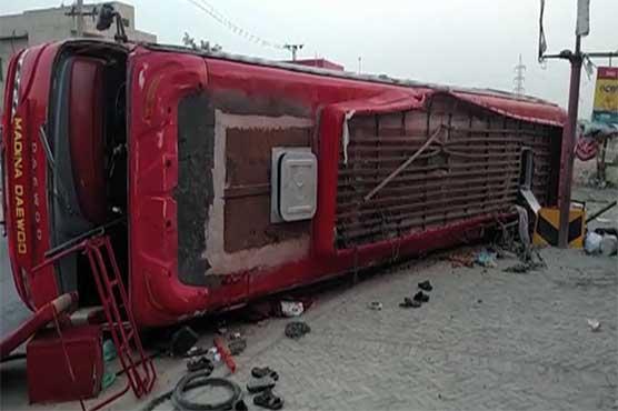 Four killed, 40 injured as passenger bus overturns in Rajanpur
